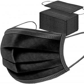 50x Schwarze Einweg Maske Gesichtsmaske Vlies Einwegmaske Mundschutz Staubschutz